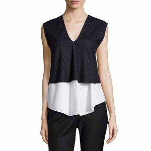 Derek Lam 10 Crosby v-neck tiered menswear top